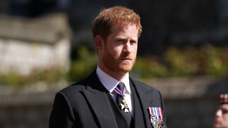 Prince Harry arrives for the funeral of Prince Philip, Duke of Edinburgh at St George's Chapel at Windsor Castle on April 17, 2021
