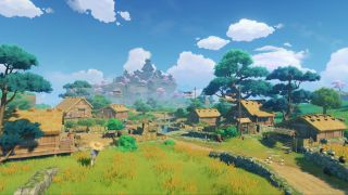 A field and some houses in Genshin Impact's Inazuma