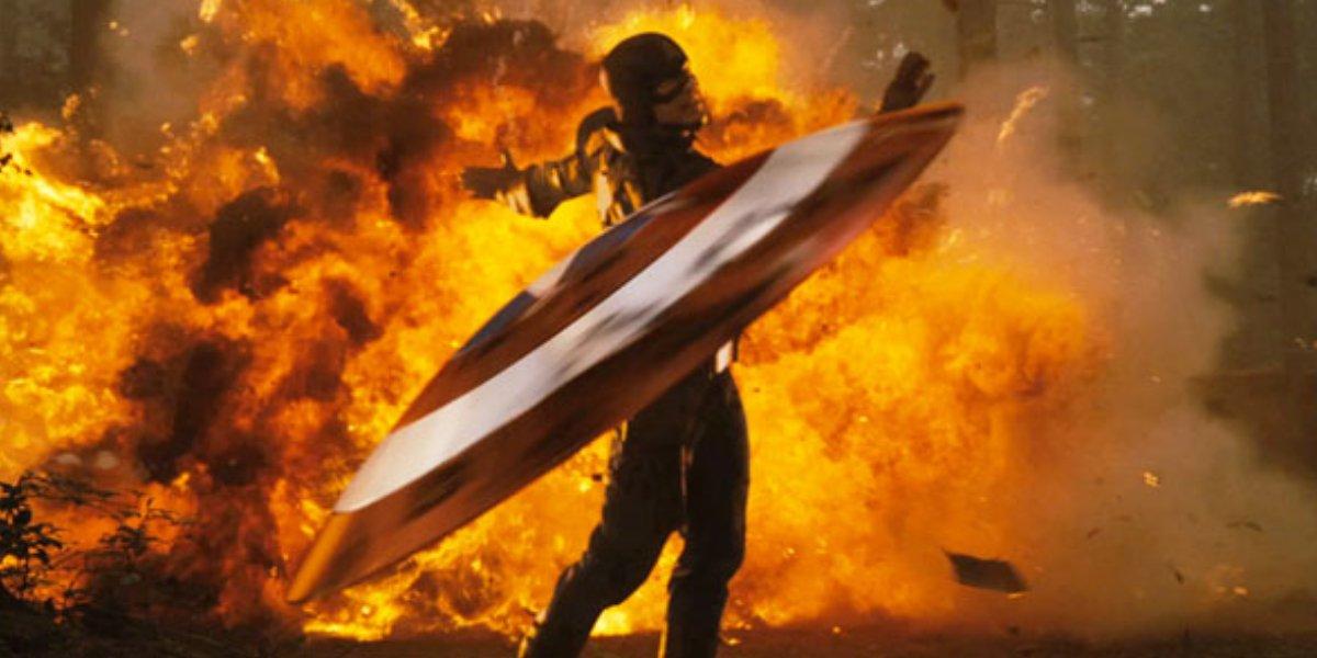 Chris Evans tosses his shield in Captain America: The First Avenger