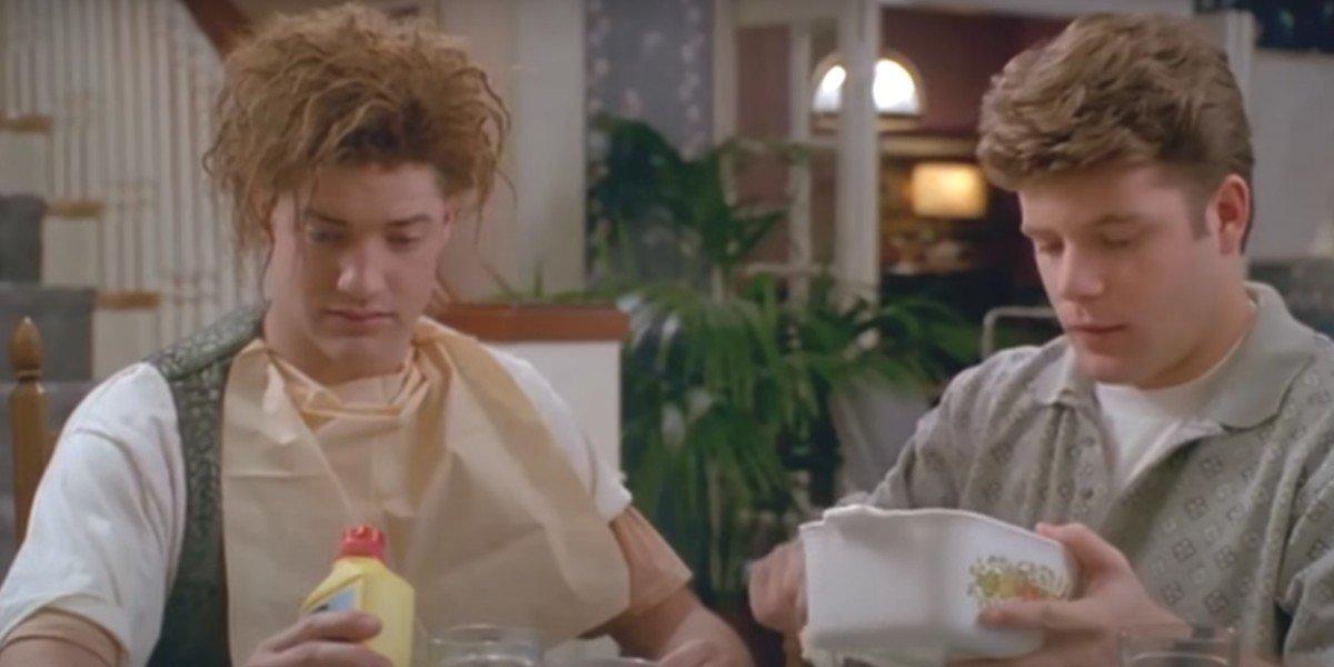 Brendan Fraser and Sean Astin in Encino Man