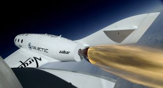 Virgin Galactic's SpaceShipTwo rockets skyward on an early test flight.