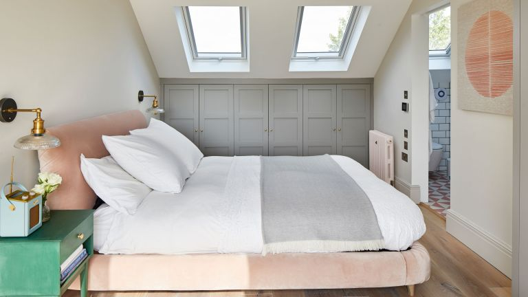 December 2019: Katy Waters and husband Jason have created a Scandi-inspired master bedroom in the loft of their home in Ealing