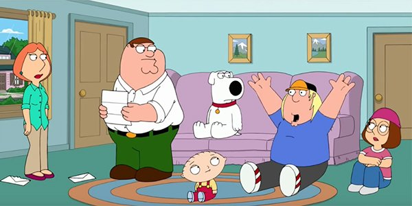 Chris cheering in excitement on Family Guy