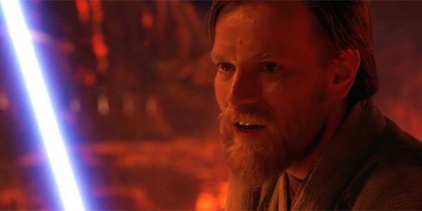 Obi-Wan battling Anakin on Mustafar