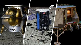 Artists' depictions of lunar lander designs from commercial companies Astrobotic, Intuitive Machines and Orbit Beyond. NASA selected the trio of companies to ferry their first science and technology payloads to the moon's surface as part of the Artemis program, the agency's plan to land humans on the moon in 2024.