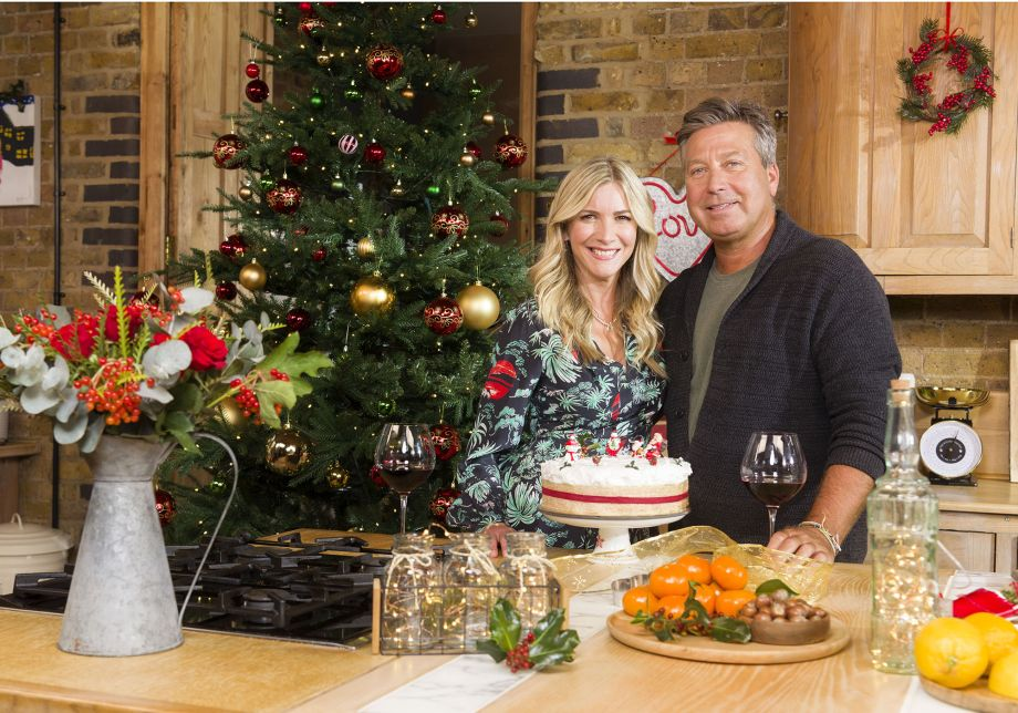 Lisa Faulkner and John Torode pose for their first Christmas as a married couple