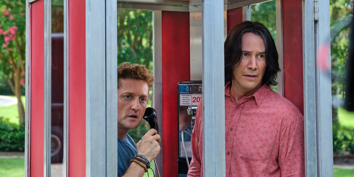 Bill (Alex Winter) and Ted (Keanu Reeves) stand inside of a telephone booth in 'Bill and Ted Face the Music'