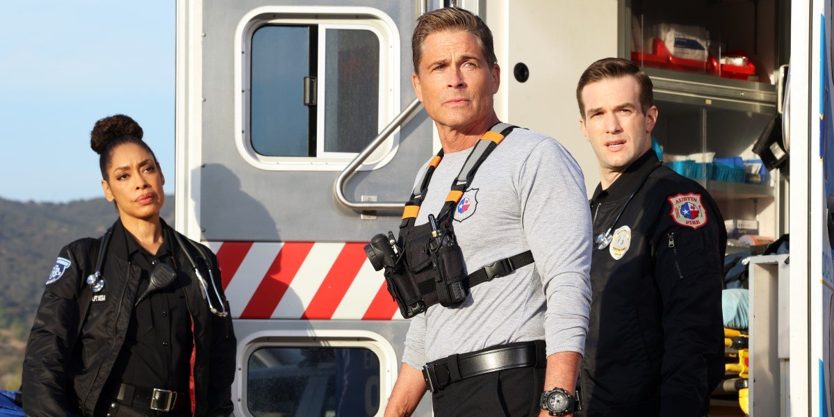 rob lowe and gina torres in 9-1-1: lone star