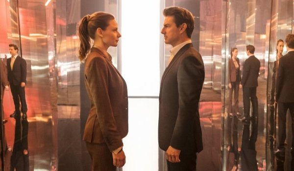 Mission: Impossible - Fallout Rebecca Ferguson and Tom Cruise meeting in the middle of a mirrored ha