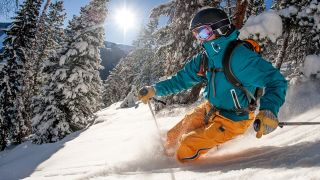 A man skis downhill on a sunny day
