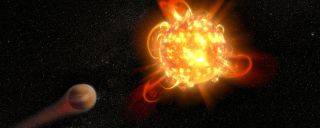 This artist's impression shows a superflare around a distant star.