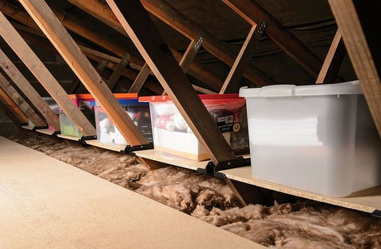 unfinished attic storage ideas