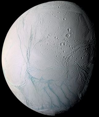 Saturn Moon Enceladus, Seen by Cassini