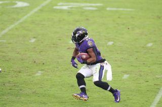 Mark Ingram II of the Baltimore Ravens during a regular season game (Photo by Allen Kee / ESPN Images)