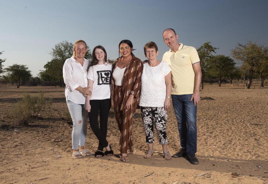Scarlett Moffatt centre with mum Betty, sister Ava, gran Christine and dad Mark in Namibia
