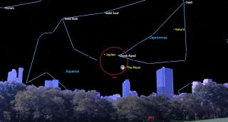 august 2021 starry night Gibbous moon joins Jupiter and Saturn