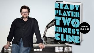 Author Ernest Cline and the cover of Ready Player Two.