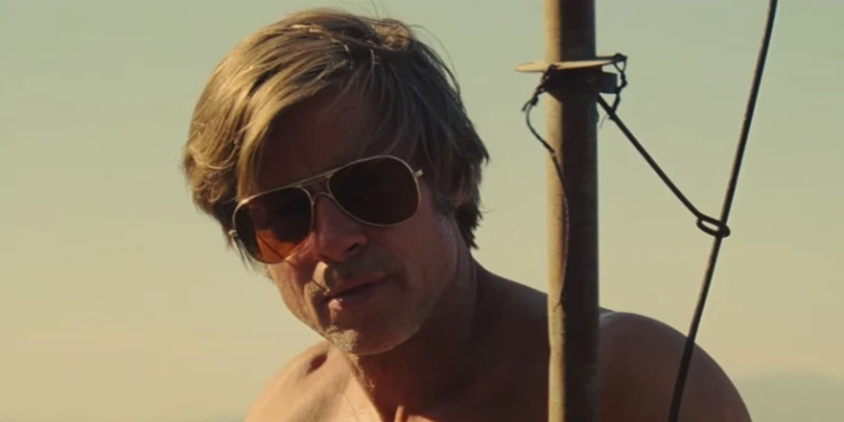 Brad Pitt as Cliff Booth in Los Angeles in Once Upon a Time in Hollywood