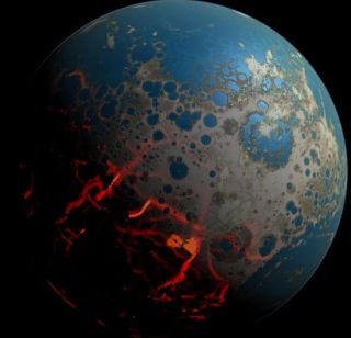 An artistic conception of early Earth showing the planet's surface impacted by asteroids.