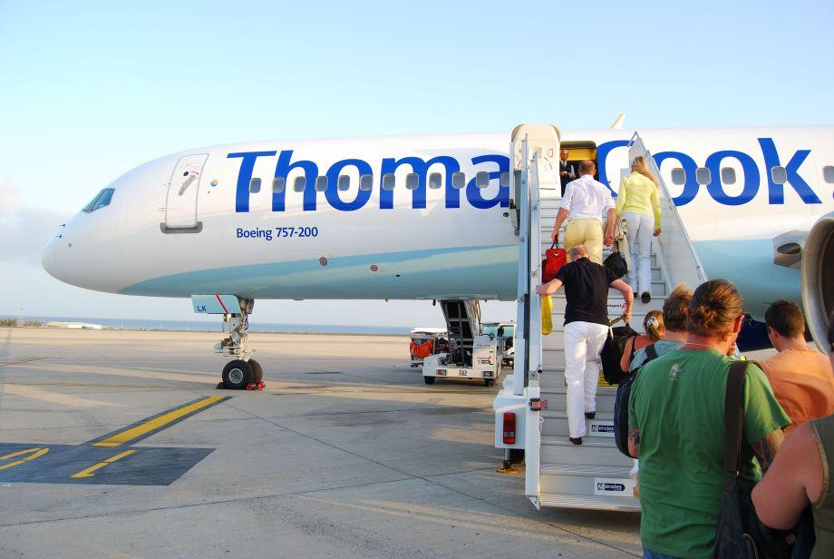 Passengers boarding a Thomas Cook plane