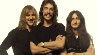 Rush members Alex Lifeson, Neil Peart and Geddy Lee in the 1970s