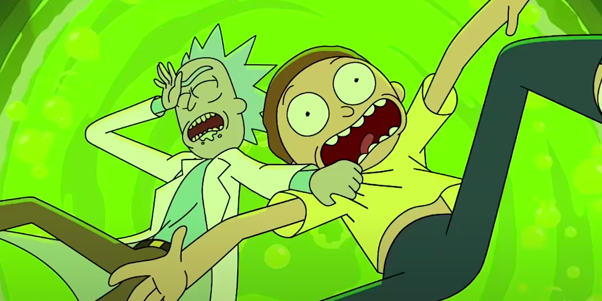 rick and morty falling into vat of acid