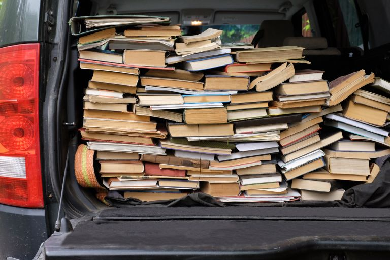 Books loaded into a car boot