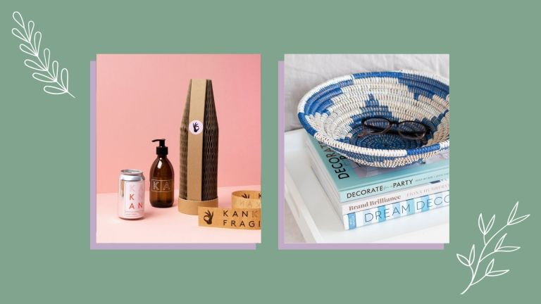 Two of the best sustainable Christmas gifts this year from KanKan and La Basketry shown side-by-side
