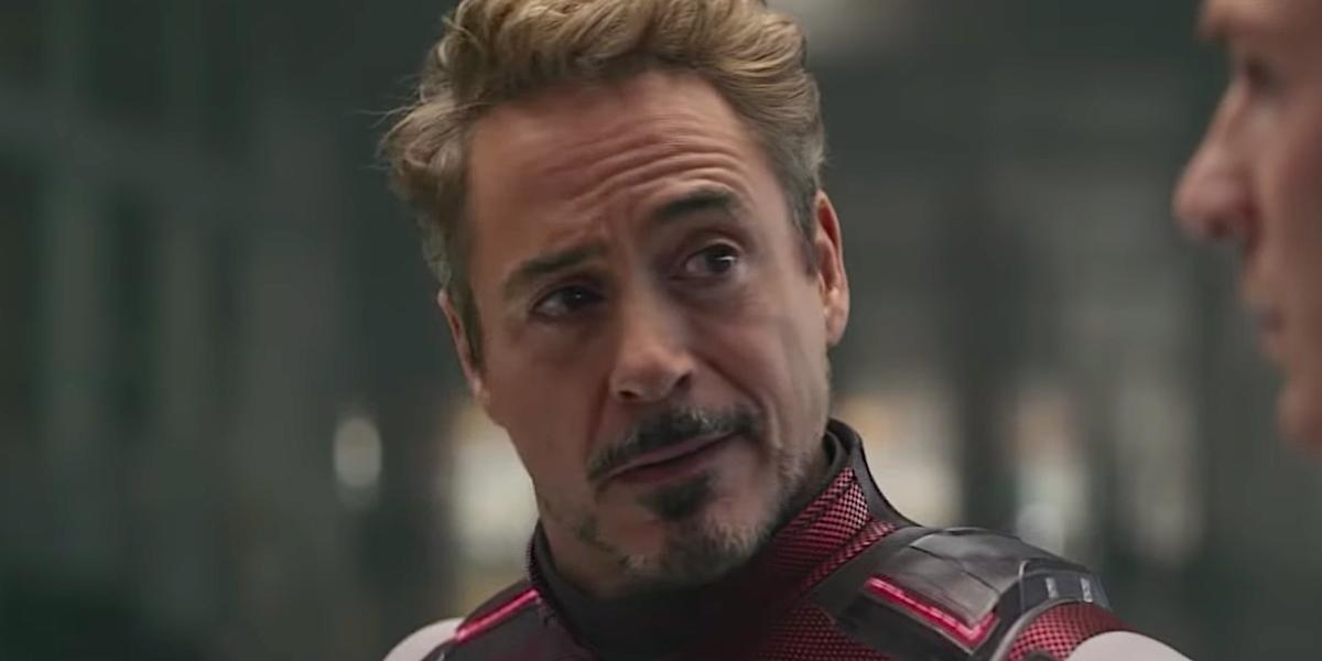 robert downey jr.'s tony stark talking to captain america in avengers endgame