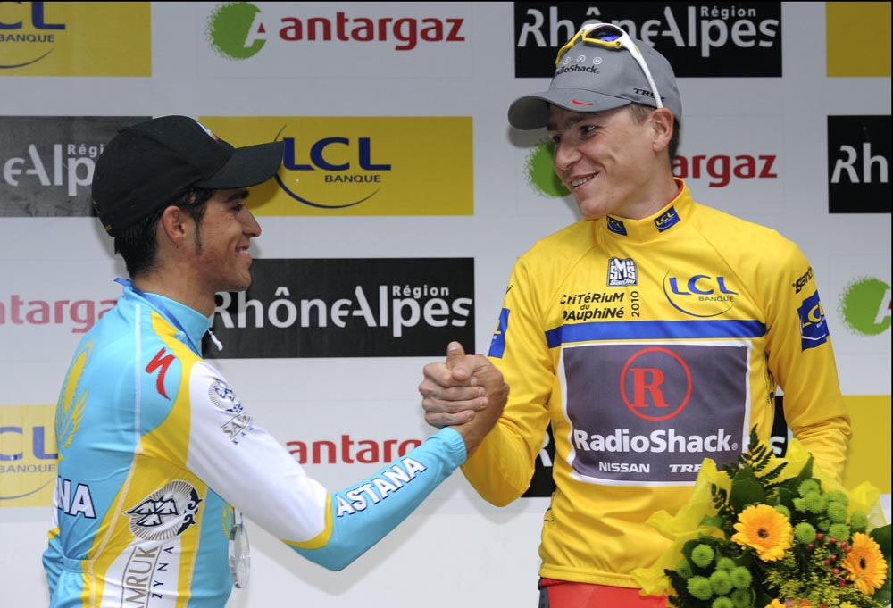 Alberto Contador and Janez Brajkovic, Criterium du Dauphine 2010, stage 7