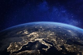 3D rendering of Earth showing Europe at night.