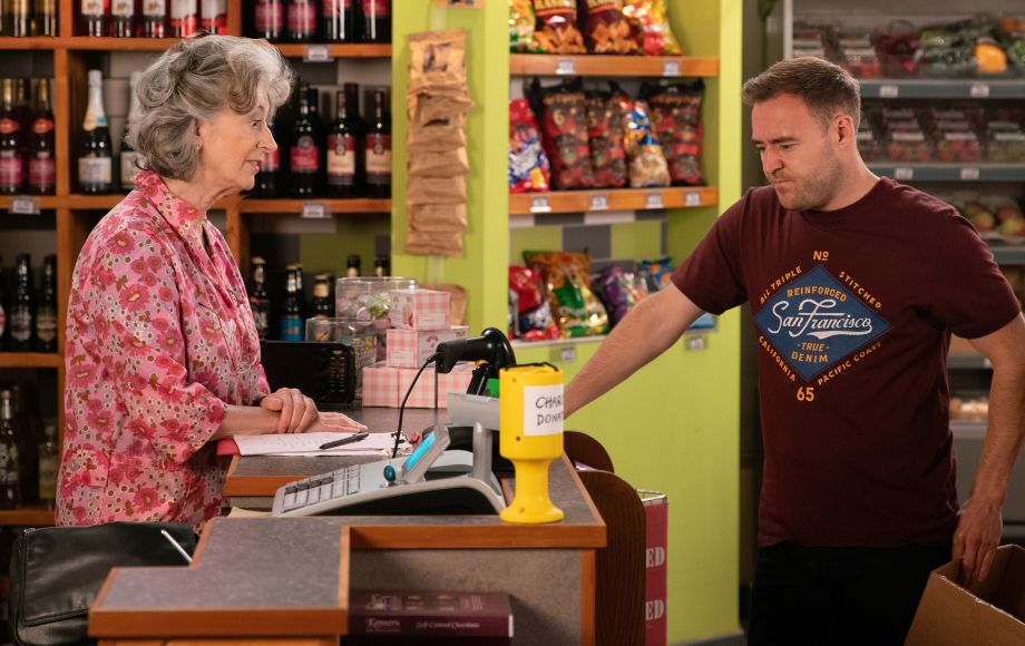 Evelyn Plummer with Tyrone in Coronation Street
