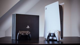 A PS4 and a PS5 side by side