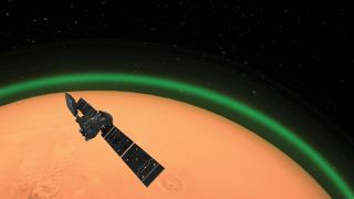 Artist's illustration of the European Space Agency's ExoMars Trace Gas Orbiter detecting the green glow of oxygen in the Martian atmosphere. This emission, spotted on the dayside of Mars, is similar to the night glow seen around Earth's atmosphere from space.