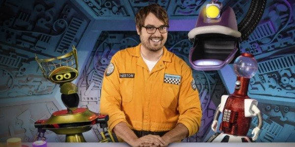 Crow, Jonah Ray, Gypsy, and Tom Servo of Mystery Science Theater 3000: The Return