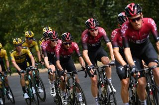 From R Team Ineos rider Spains Jonathan Castroviejo Team Ineos rider Great Britains Christopher Froome Team Ineos rider Colombias Egan Bernal Team Ineos rider Russias Pavel Sivakov and Team Ineos rider Great Britains Geraint Thomas ride during the first stage of the 72nd edition of the Criterium du Dauphine cycling race 2185 km between ClermontFerrand and SaintChristoenJarez on August 12 2020 Photo by AnneChristine POUJOULAT AFP Photo by ANNECHRISTINE POUJOULATAFP via Getty Images