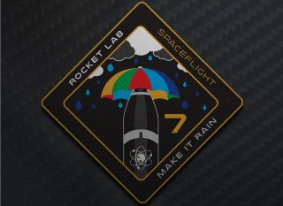 "The mission patch for Rocket Lab's ""Make it Rain"" mission. The vehicle is set to launch in June from Rocket Lab Launch Complex 1 in New Zealand."