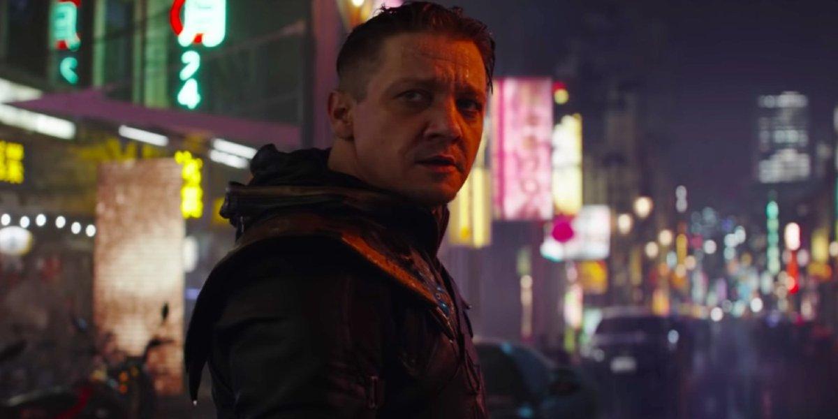 Avengers: Endgame Jeremy Renner sadly standing in the rain