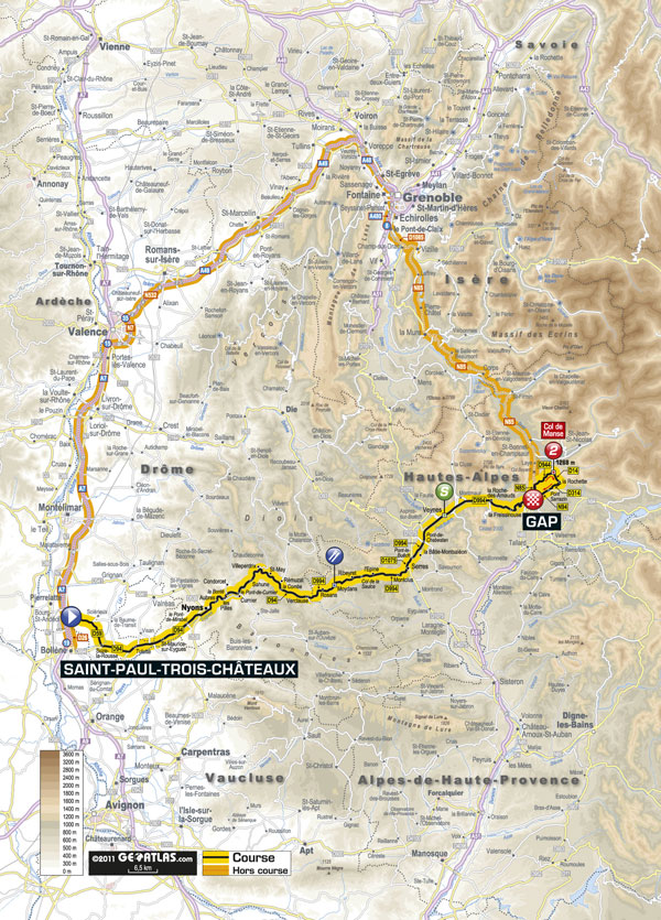 Stage 16 map, Tour de France 2011