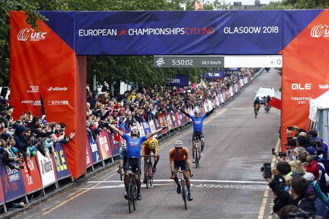 Matteo Trentin (Italy) wins the men's road race at the 2018 European Championships in Glasgow