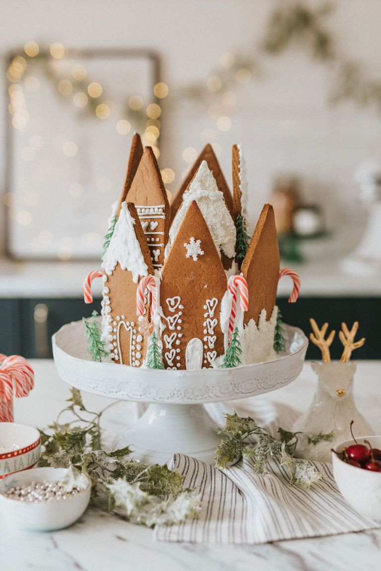 Cherry & Almond Cake with gingerbread on Anthropologie cake stand