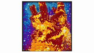 The famous Hubble Space Telescope image Pillars of Creation reimagined as a LEGO set.