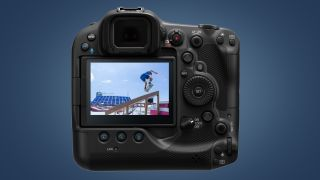 The rear screen of the Canon EOS R3 showing a skateboarder at the Olympics