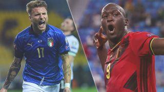Belgium vs Italy live stream at Euro 2020 — Ciro Immobile of Italy and Romelu Lukaku of Belgium
