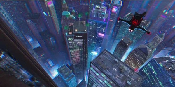 Spider-Man: Into The Spider-Verse Miles Morales swings high above the city