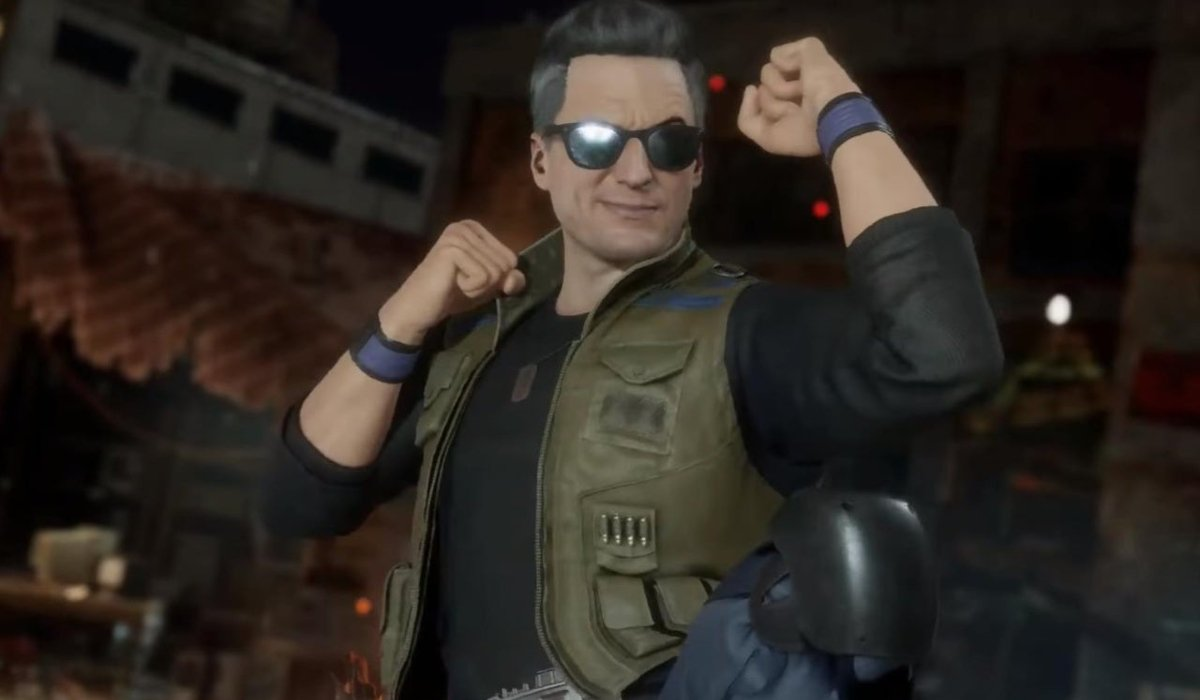 Johnny Cage strikes a fighting stance in a Mortal Kombat game.