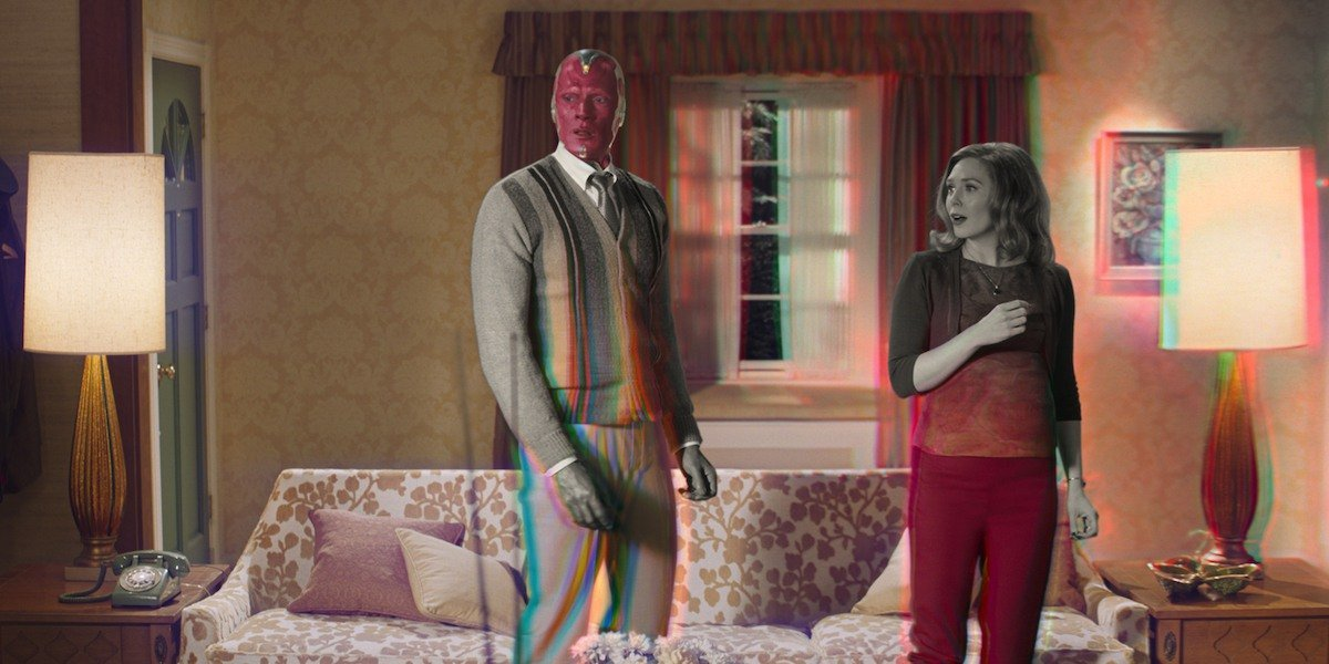 Wanda and Vision in the second episode of WandaVision.