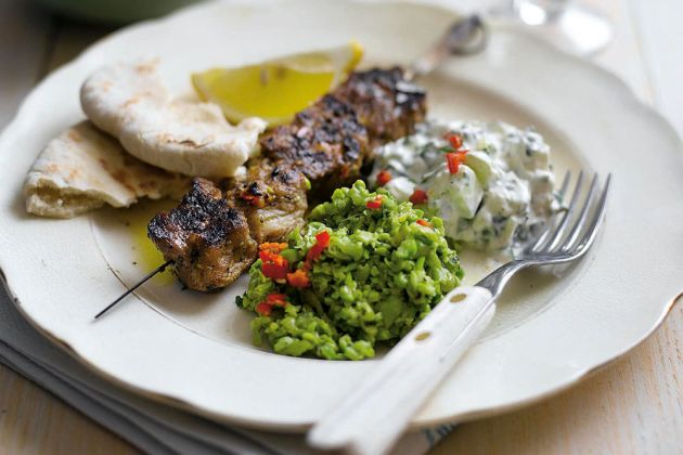 Grilled-Lamb-Skewers-with-Crushed-Peas,-Tzatziki-and-Chilli
