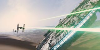 The Falcon battling Tie Fighters in The Force Awakens