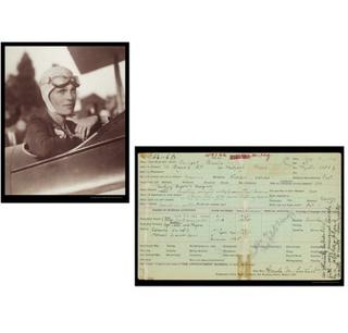 A historical photograph of Amelia Earhart.
